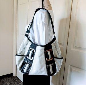 Tignanello Silver/Black Large Shoulder Bag